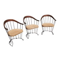 (3) Mid Century Modern Wood and Metal Chairs with Wire ...