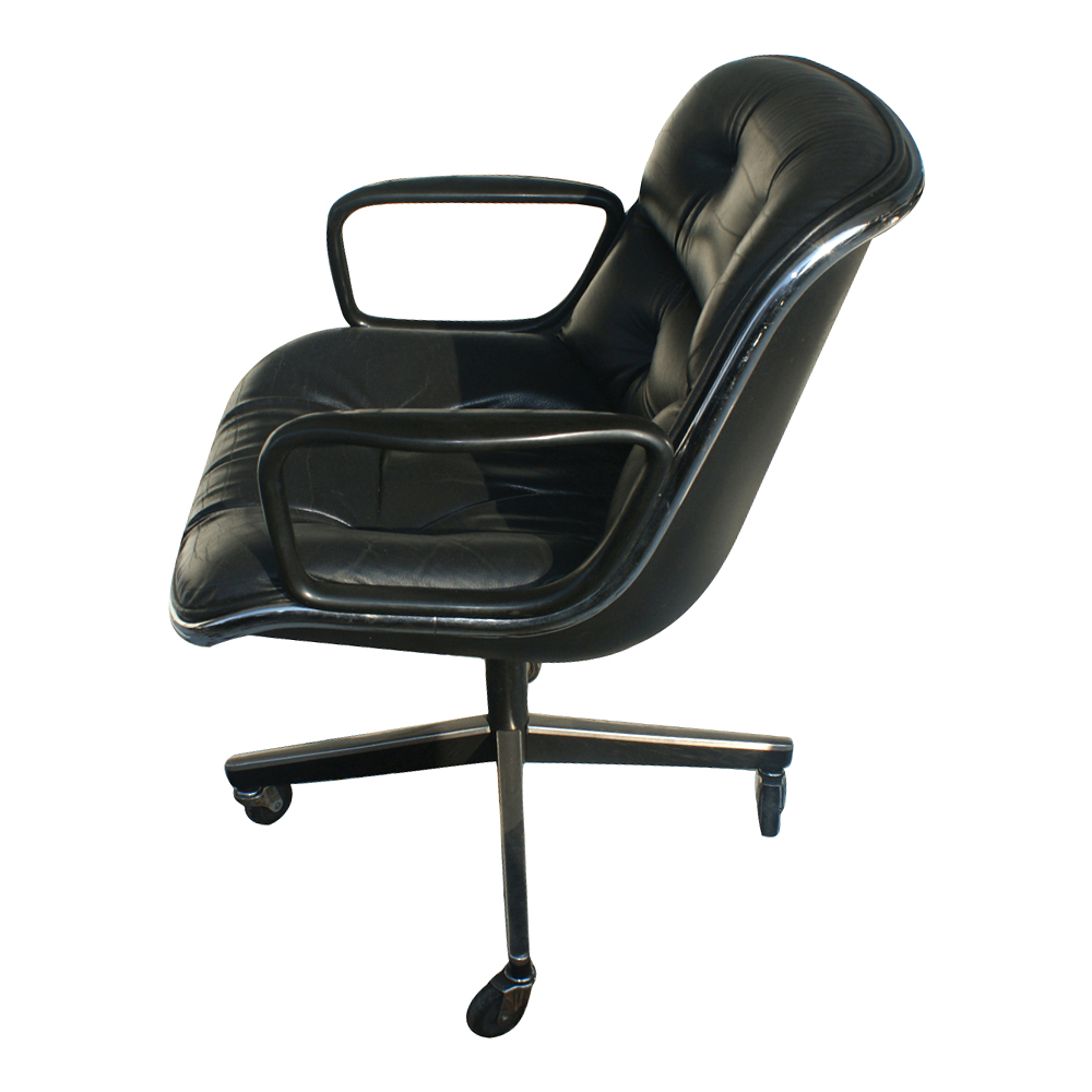 Knoll Pollock Executive Swivel Arm Chair Black Leather  eBay