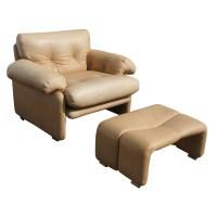 B&B Italia Scarpa Leather Coronado Lounge Chair Ottoman ...