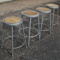 (1) Vintage Industrial Age Metal Bar Stool