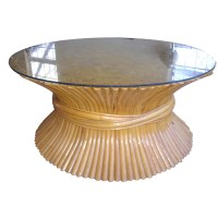 Vintage McGuire Sheaf Of Wheat Rattan Coffee Table PRICE ...