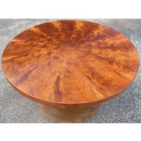 "48"" Solid Bronze Base Burl Top Round Table 
