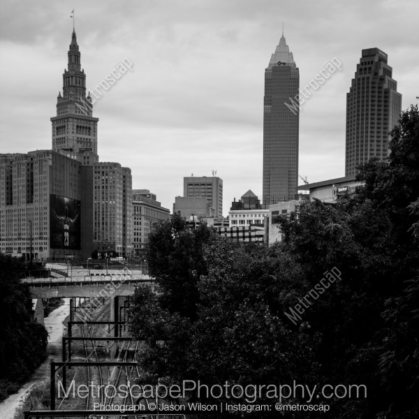 Black And White Of Cleveland Skyline Over Railway