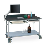 Metro Worktable with Gray Phenolic Top and Solid shelf