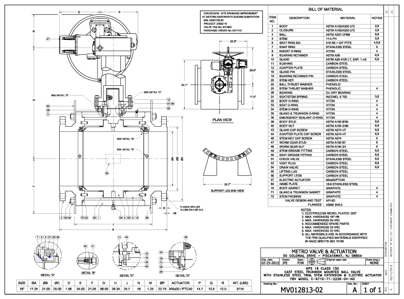 Metro Valve & Actuation : As Built Drawings