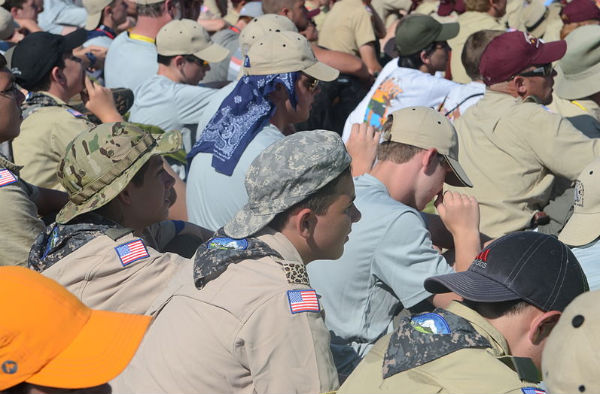 Boy Scouts of America volunteers at the 2013 National Jamboree in Mt. Hope, W.V. (Credit: U.S. Army Sgt. William White, via Wikimedia Commons.)