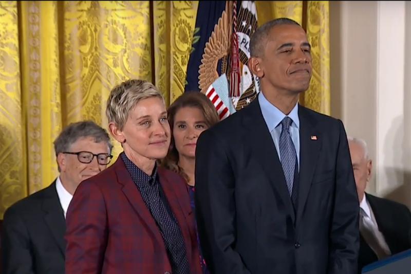Ellen DeGeneres receives the Presidential Medal of Freedom from President Barack Obama, Photo: ABC News / YouTube