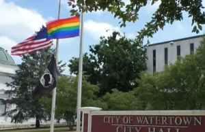 watertown, gay, flag, protest, lgbtq
