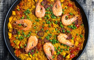 Pan of Paella with shrimp