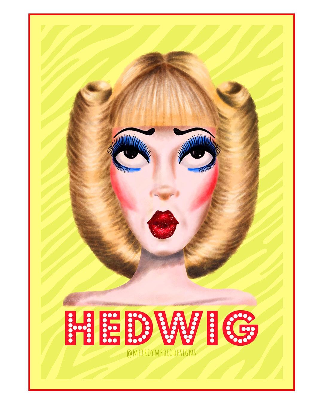 Ilustración digital de Hedwig, de la película Hedwign and the angry inch, con maquillaje drag y peluca rubia con enormes recogidos laterles en forma de rizo.. Inspirada en Neil Patrick Harris.