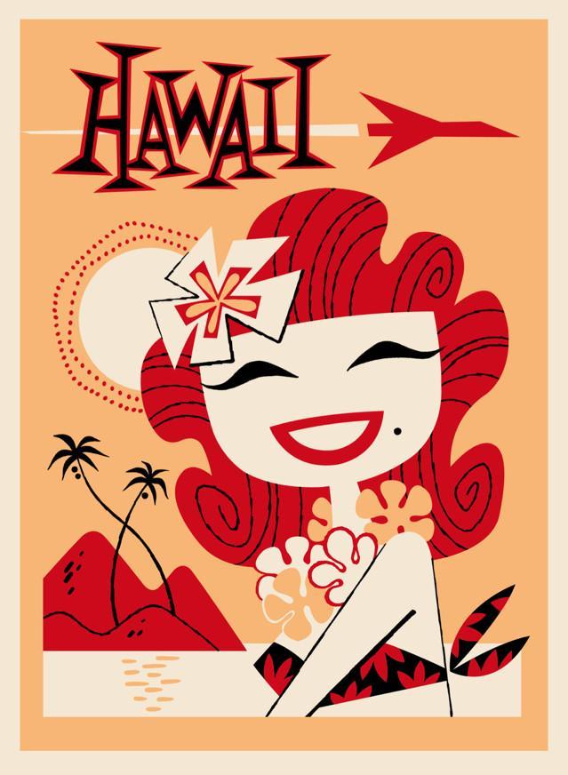 Ilustración de Derek Yaniger. Lowbrow art. Hawaii