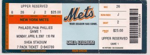 2007 Mets Opening Day stub