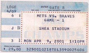 2001 Mets Opening Day Ticket Stub