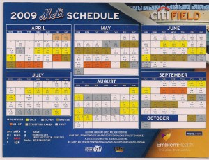 2009 Mets magnetic schedule