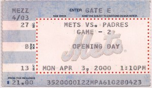 Mets 2000 Opening Day ticket