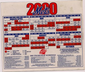 Mets 2000 magnetic schedule