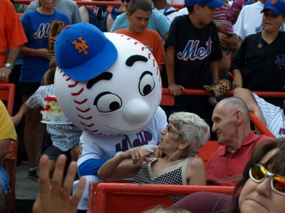 MetsPolice Mr Met Pedro and My Mom - Mom Talks to Mr Met