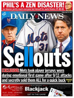 Daily News Piazza Sellouts back page Mets