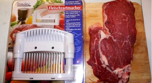 Die Kontrahenten: 300g Entrecote vs. Genius Fleischzartmacher