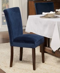 Set of Two Navy Velvet Parson Dining Chair - Metziahs
