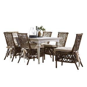 Eethoek Aristocrate tafel 180cm wit hout met 6 stoelen riet