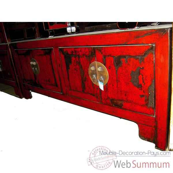 buffet bas 4 portes rouge laque style chine chn246