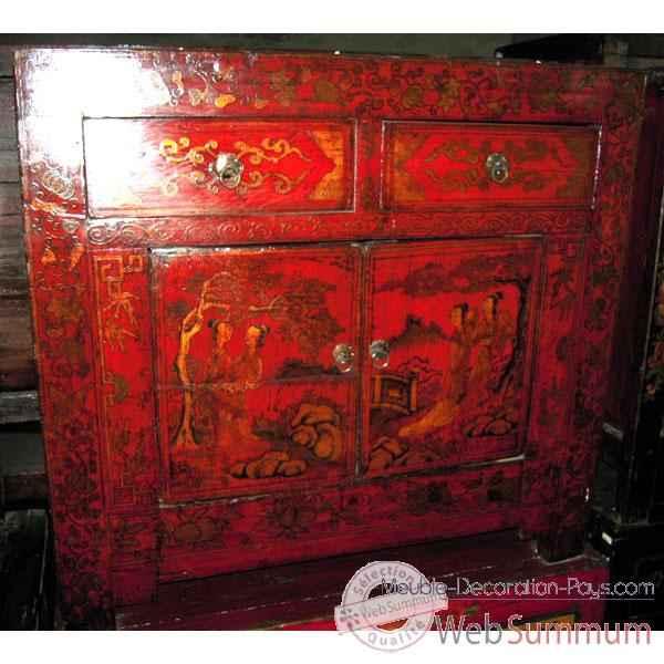 buffet 2 portes et 2 tiroirs rouge laque style chine c3005