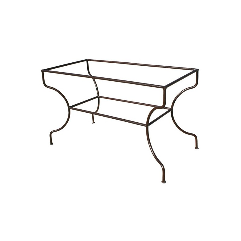 pied table fer forge rectangulaire support simple rond plein