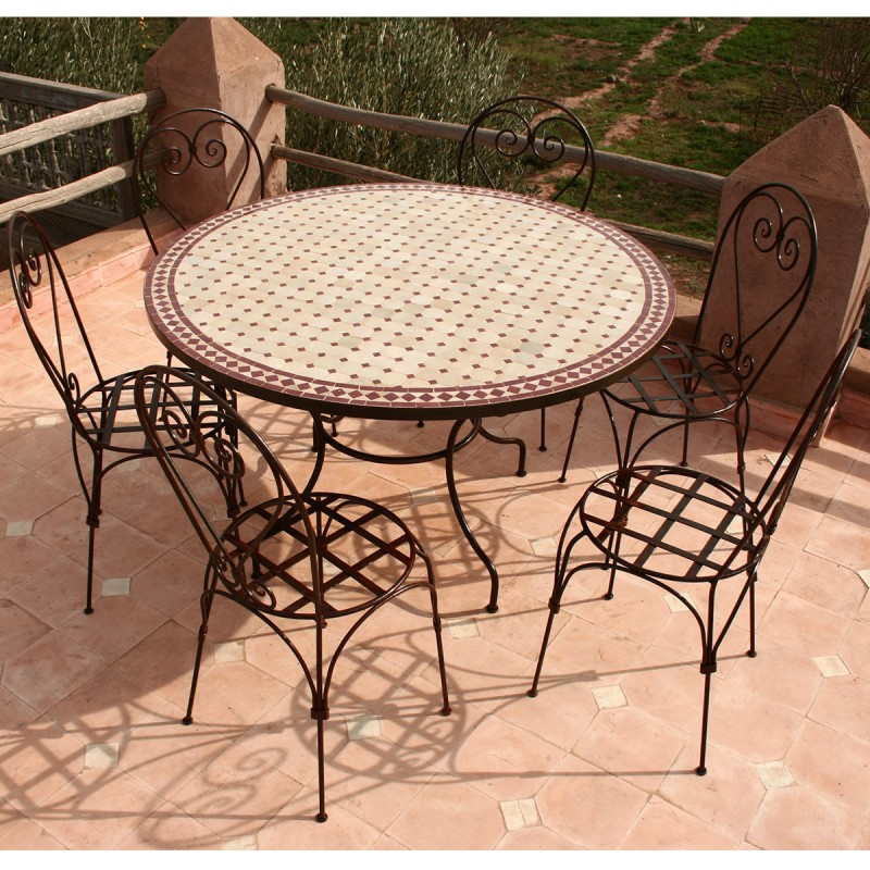 table zellige ronde 130 6 chaises italienne