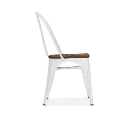 chaise bistrot metal blanc et bois industrielle industry
