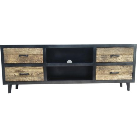 meuble tv noir et bois brut recycle 4 tiroirs jazz