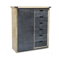 bahut 115 cm metal et bois porte coulissante caractere