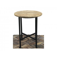 table de bar ronde en metal et bois 100cm vegas