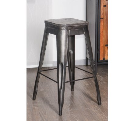 lot de 4 tabourets de bar metal et bois snack indus