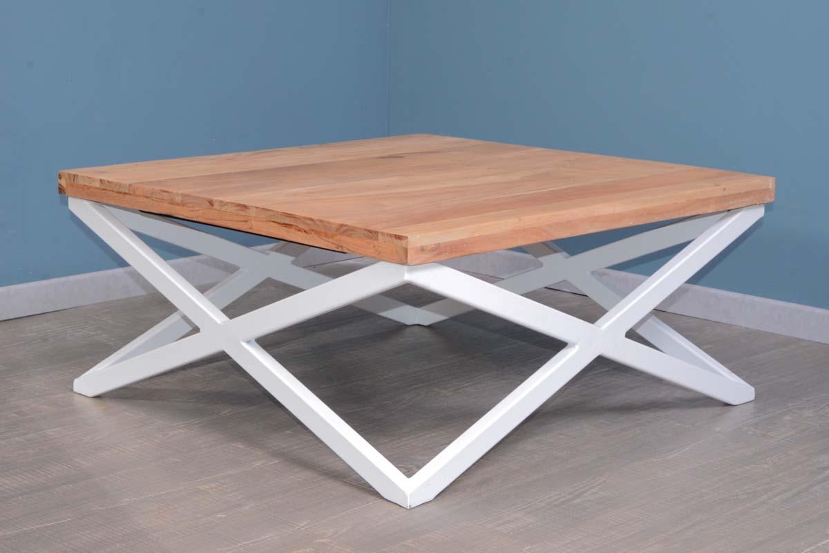table basse carre pieds metal blanc 88 x 88 cm zen white