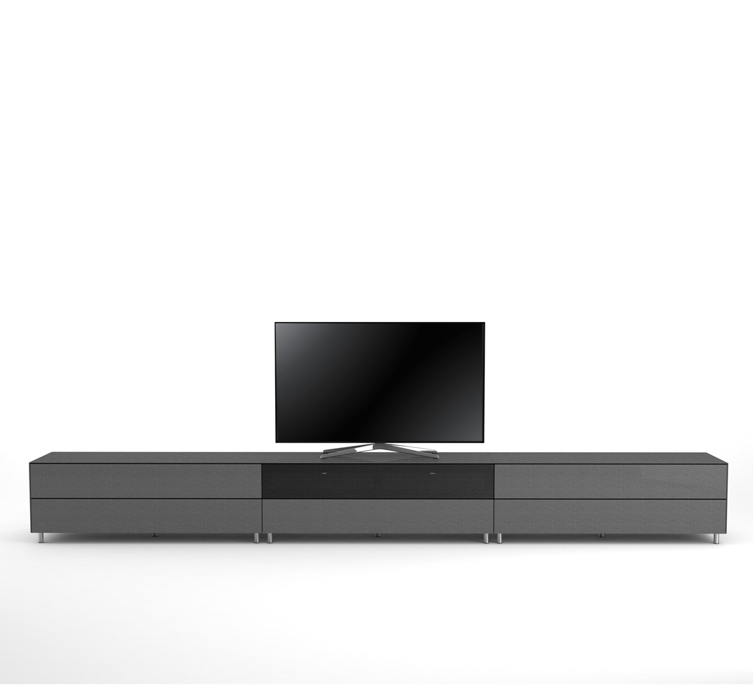 meuble tv design 390 cm epure salon sound k4 verre graphite scintillant