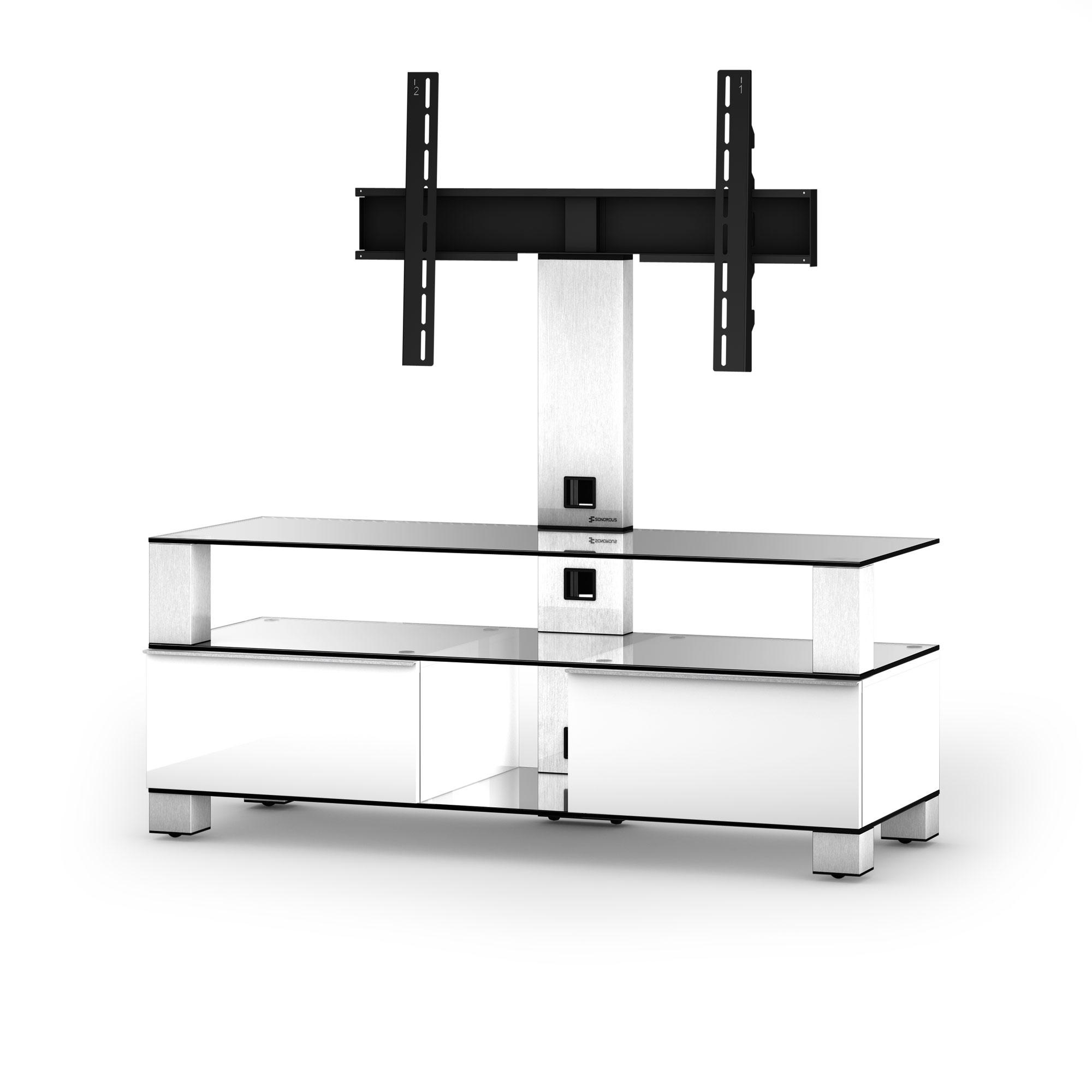 meuble tv sonorous md8123 c inx wht verre claire blanc laque avec support