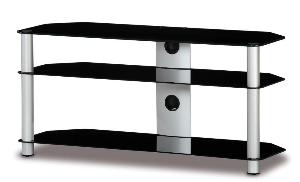 meuble tv neo3110 b slv verre noir et argent