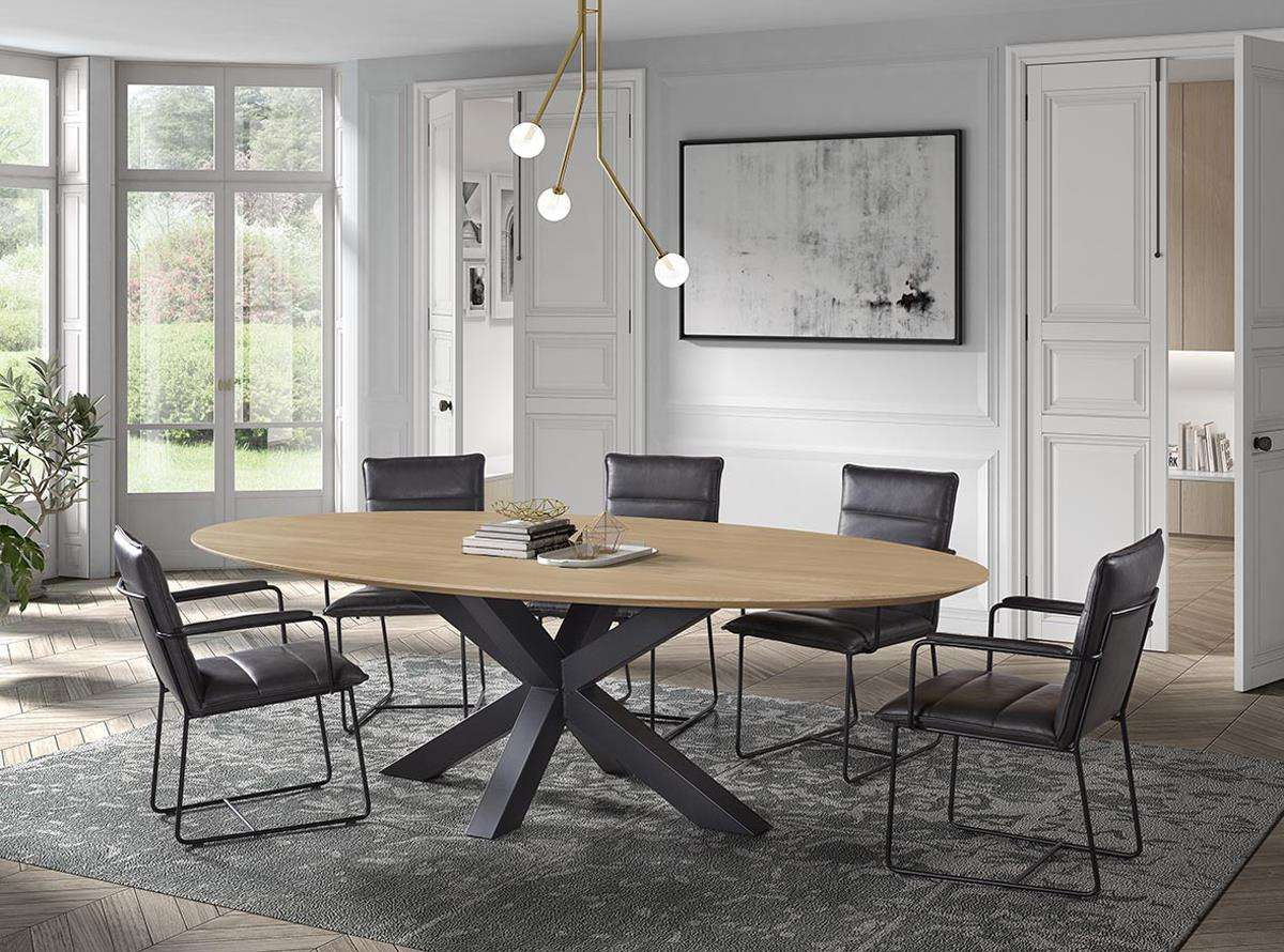 table ovale pied central meuble loi