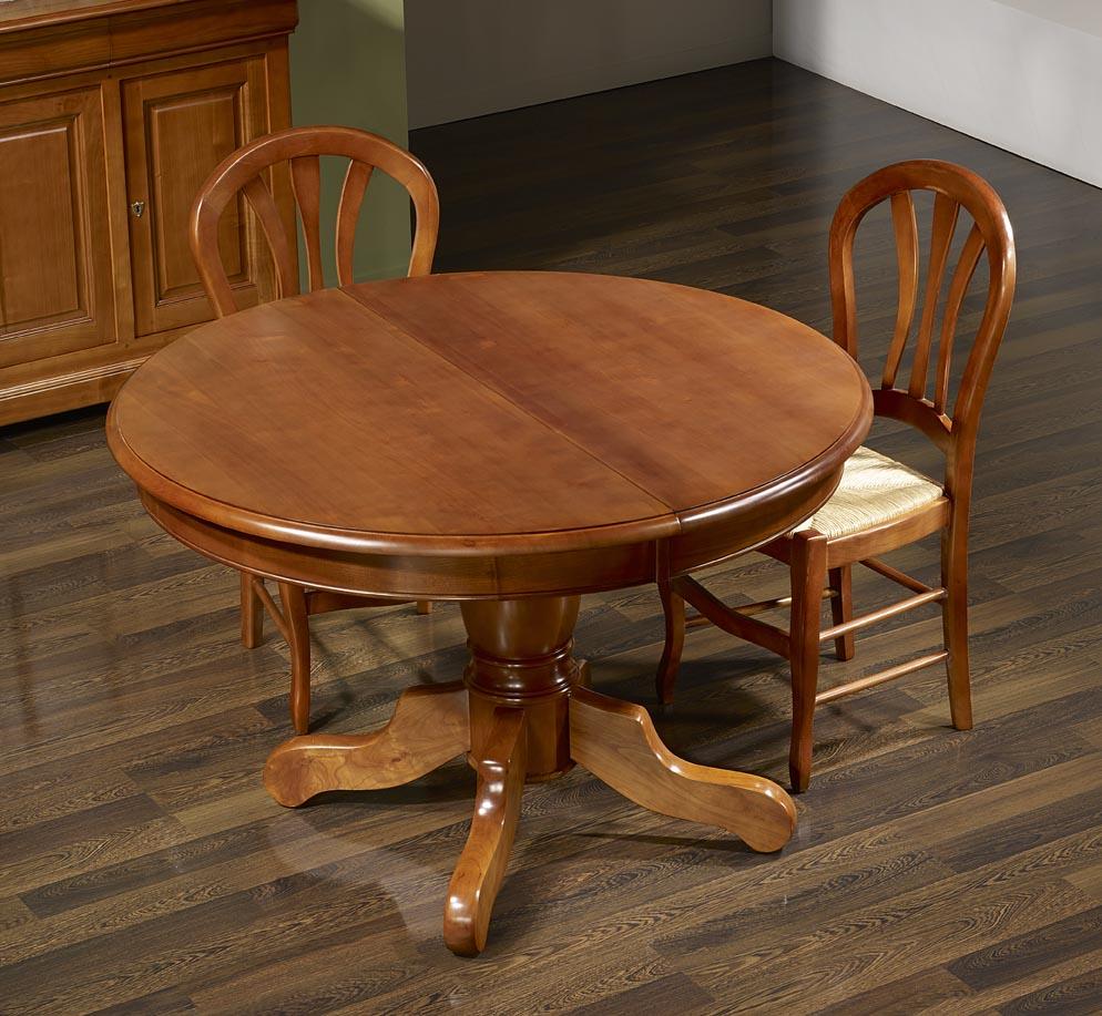 table ronde pied central aline en merisier massif de style louis philippe diametre 120 5 allonges de 40 cm meuble en merisier massif