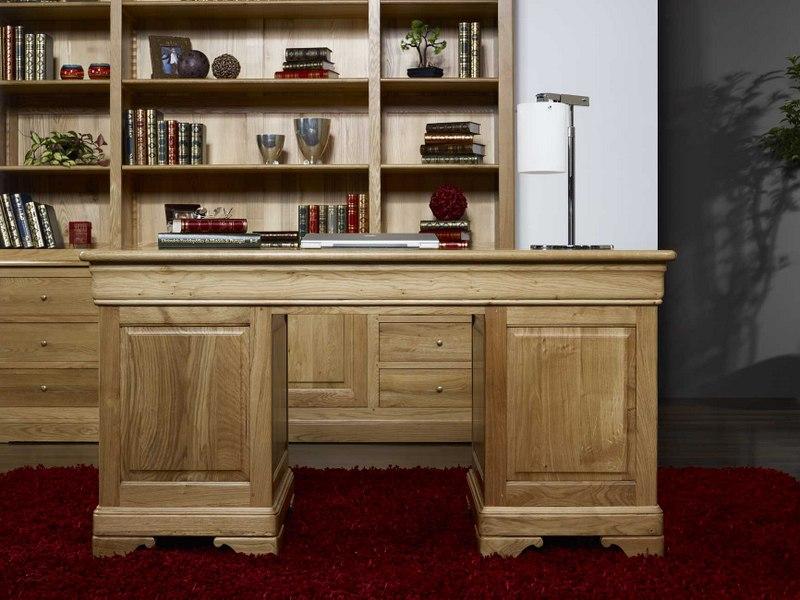bureau ministre 9 tiroirs en chene massif de style louis philippe meuble en chene massif