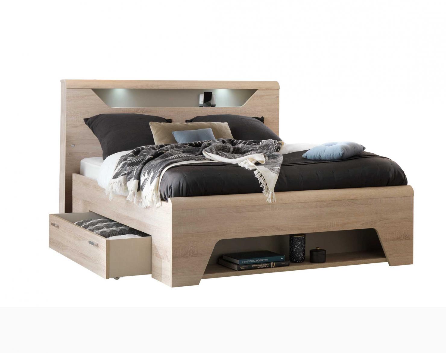 lit avec tete niche et cadre tiroirs