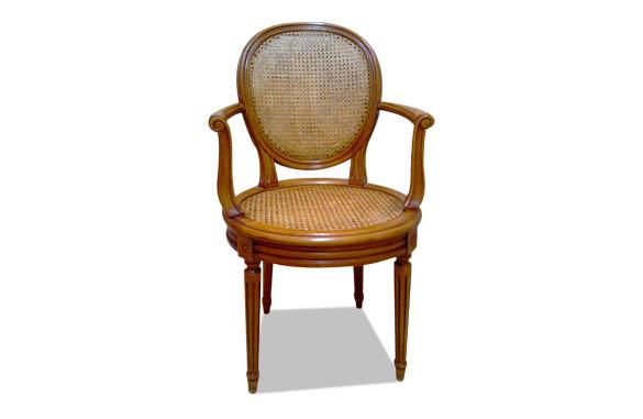 fauteuil louis xvi medaillon canne