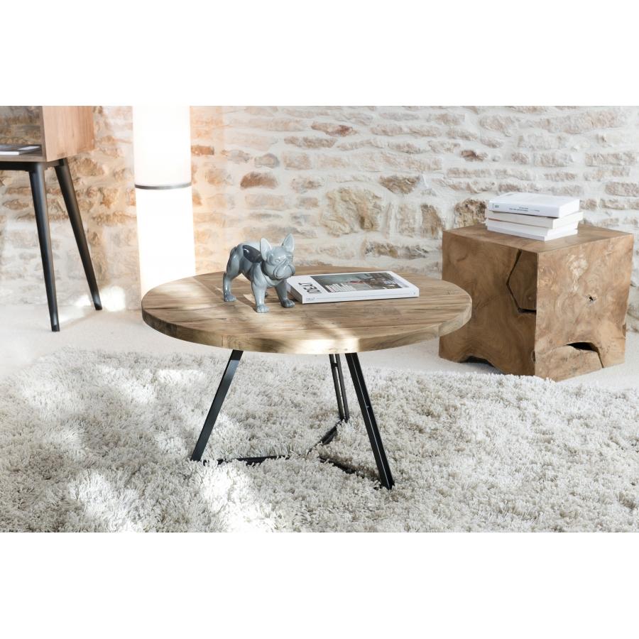 table basse bois ronde pieds noirs 75 x 75 cm