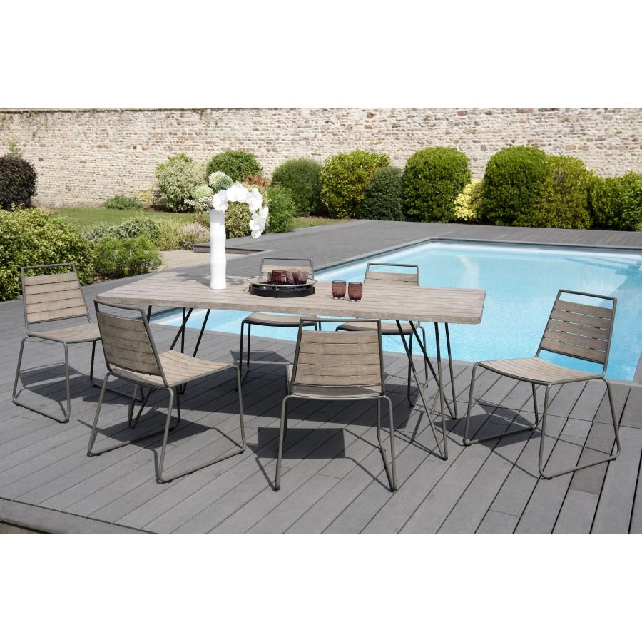 salon de jardin en bois teck grise 6 8 pers ensemble de jardin 1 table rectangulaire 200 90 cms 6 chaises empilables metal