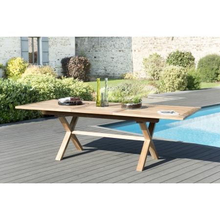 table de jardin 8 10 personnes rectangulaire pieds croises extensible 180 240x100 cm en bois teck