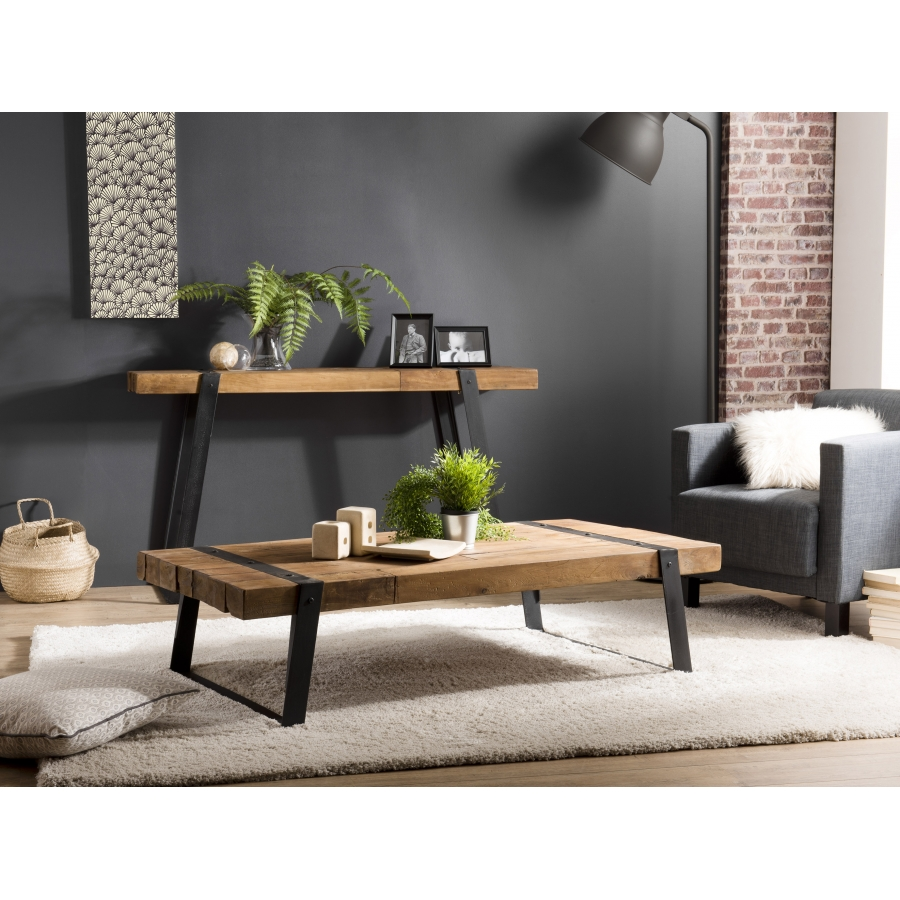 table basse bois rectangulaire 140x70cm teck recycle et pieds inclines metal