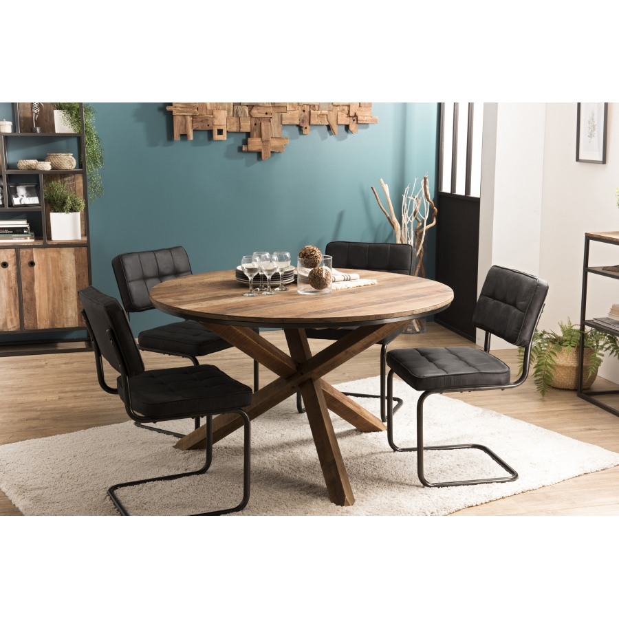 table a manger bois ronde 130x130cm pieds croises teck recycle acacia mahogany