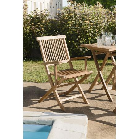 ensemble de 2 fauteuils de jardin java en bois teck