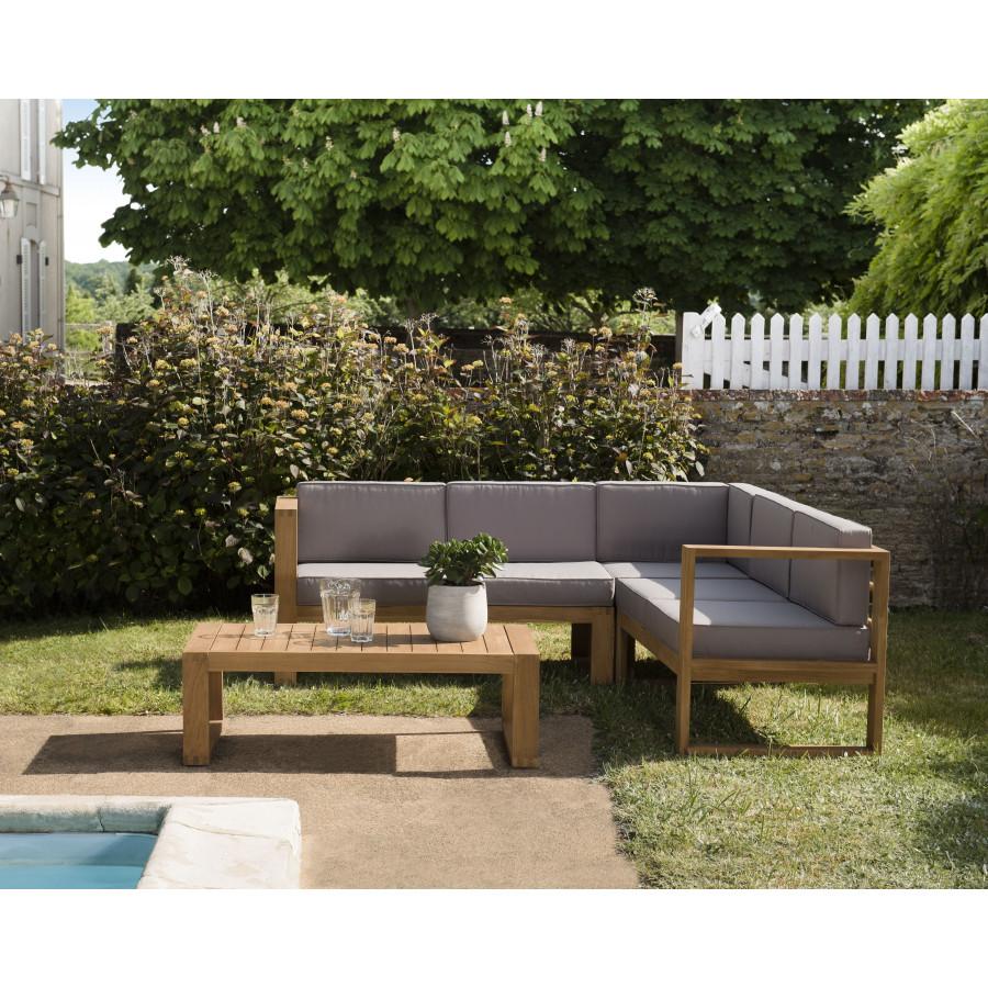 salon de jardin en bois teck 1 canape d angle 5 places avec coussin waterproof et une table basse 110x60 cms